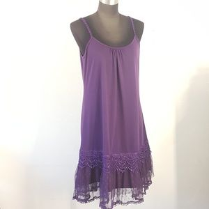 Ryu Purple Lace Hem Layering Tunic Tank Dress